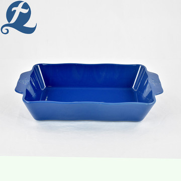 Color Ceramic Stoneware Rectangular Binaural Baking Tray