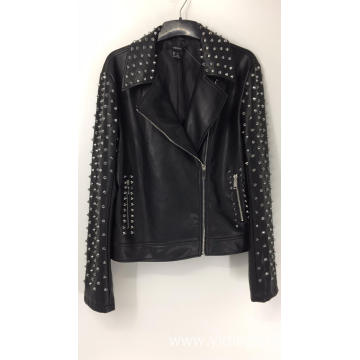 Ladies' Punk Studded Faux Leather Jacket