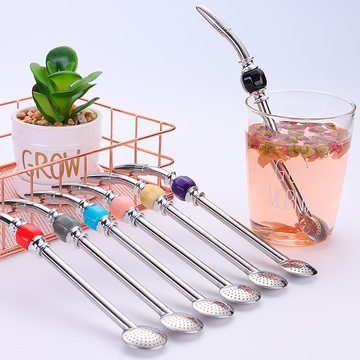Custom Stainless Straw Strainer With Bead
