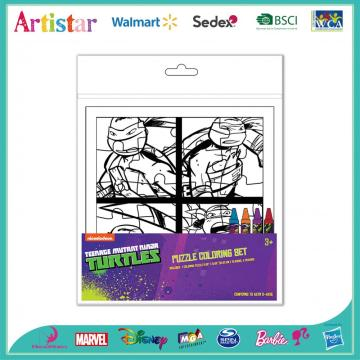 Turtles puzzle coloring set