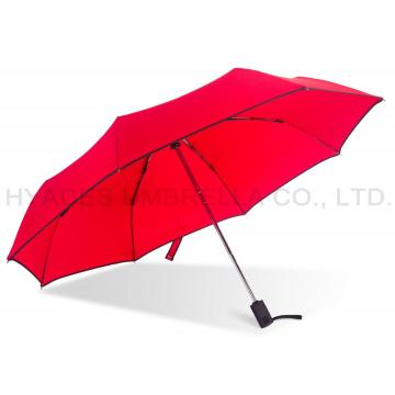Strong Windproof Plain Color 3 Folding Umbrella
