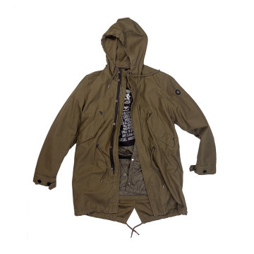 Neutral military green Parka with detachable inner jacket