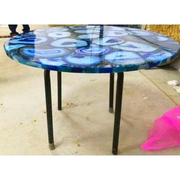 blue agate side table-- semiprecious stone