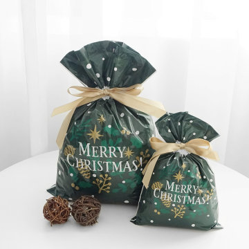 Green Color Christmas Plastic Gift Packing Bag