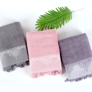 purple embroidery border tassels bath towel