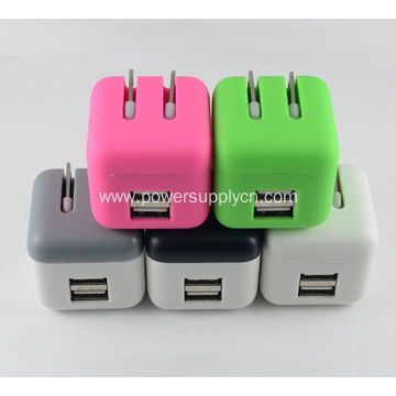 Super Mini Foldable Dual USB Phone Charger 5V2.1A