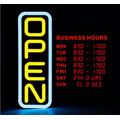 20'' Vertical LED Open Sign with Digital Business Hours