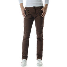 Mens Slim Stretchy Side Buckle Patch Cotton Pant