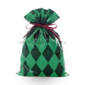 Green Diamond Pattern Christmas Plastic Gift Packing Bags