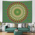 Bohemian Tapestry Mandala Wall Hanging Indian Style Boho Psychedelic Tapestry for Livingroom Bedroom Home Dorm Decor Green