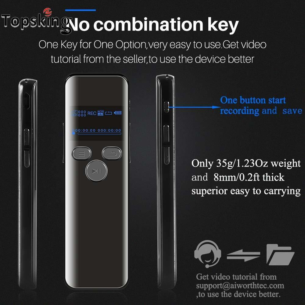Digital Voice Activated Recorder Lectures Audio Recording Dictaphone Noise Reduction Playback Password Variable Speed MP3 Player