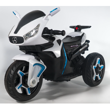 White three-wheeled children electric car