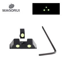 Magorui Tactical Hunting Handgun Pistol Glow Sight Green Dot for Glock 17/19/22/23/24/26/27/33/34/35 In Day and Night Use