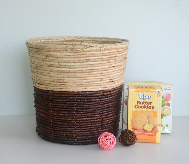 Round two-tone maize rope handicraft basket-3