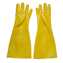 Yellow PVC coated gloves 45cm cotton linning