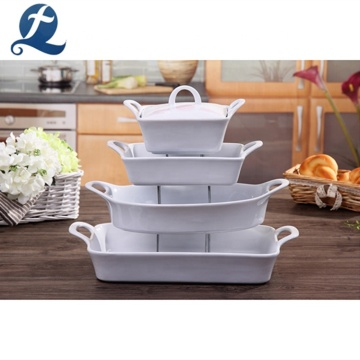 Bulk Stoneware Bake Ware Set Ceramic White Baking Plates