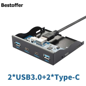 3.5'' 2 USB3.1 Type-C + 2 USB 3.0 A Hub to 20Pin Header Front Panel Floppy Drive 2 Year Warranty
