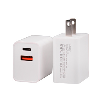 Portable PQ-18W Dual USB Port Fast Wall Charger