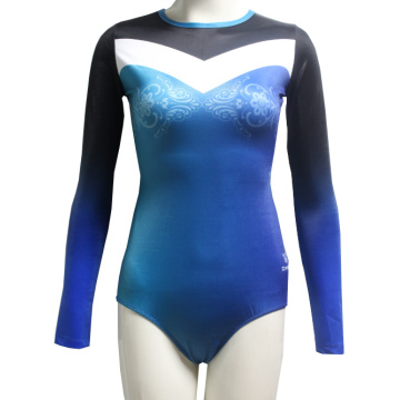 Custom Blue Bodysuit Pelatihan Leotard
