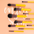 12 piece yellow synthetic makeup brush set professional