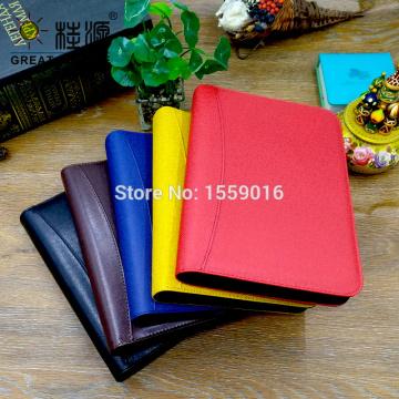 Portfolio A5 Binder 6 Ring Loose Leaf Notebook Cover Leather Organizer Zipper Folder Bag Calculator Storage Ziplock Bag Gift Set