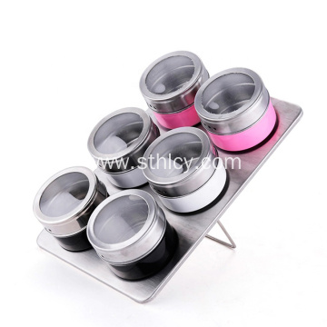 Stainless Steel Round Seasoning Pot Set