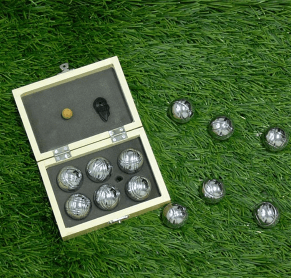 6 bocce ball with wooden box