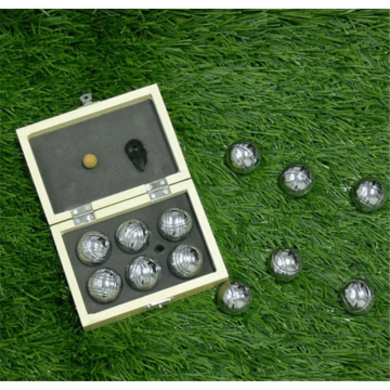 Chrome Bocce Ball Set in Wooden Box
