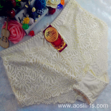 OEM wholesale stylish light yellow women underwear sexy plus size lace cotton fancy panty 5861