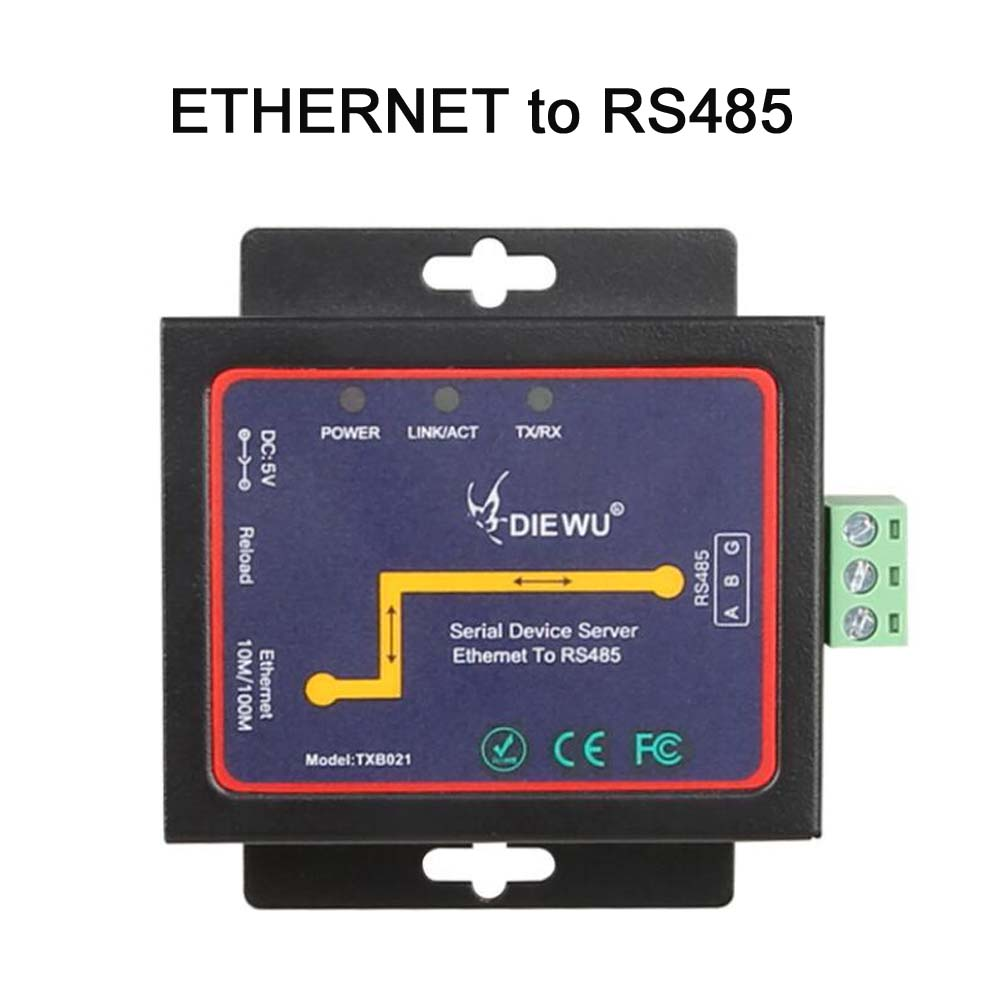 RJ45 to RS485 Industrial-grade Serial Device Server RJ45 to RS485 Modbus Ethernet networks server Supports TCP/RTU/UDP Converter