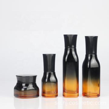High-grade Cosmetic Gradient green Square glass bottles/jars with good price