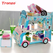 Tronzo Car Cupcake Stand Creative Paper 3-layer Ice Cream/Cake Display Stand Candy For Kids Wedding Birthday Party Decoration