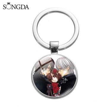 Vampire Knight Yuuki Anime Glass Dome Keychain Pendant Trendy Chain Cartoon Art Photo Keychain For Women Gift Jewelry