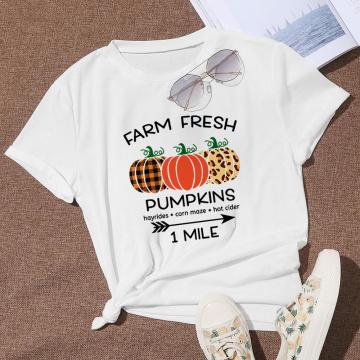 Women T-Shirt Casual Style FARM FRESH PUMPKINS 1MILE Shirt Printed Tshirt Women Plant Graphic Design Striped White Tshirt