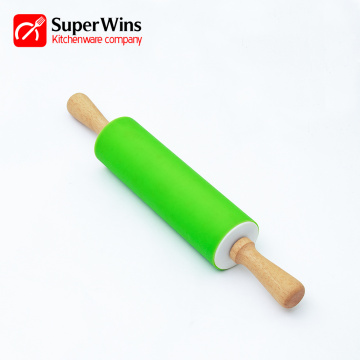 Essential Kitchen Tool Wooden Handle Silicone Rolling Pin