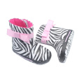 Fashion Zebra-Stripe PU Leather Baby Boots