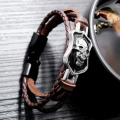 Unique pu leather mens skull bracelet