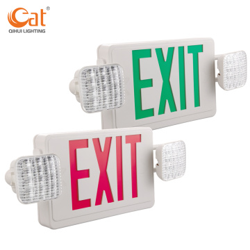 Emergency exit sign with two LED lights