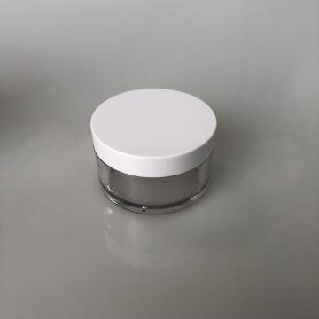 100ml clear PET jar with white lid