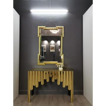 Gold Metal Glass Mirror mirrored console table gold with Mirror