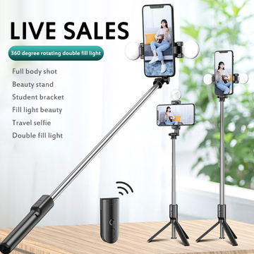 2 IN 1 Wirleless Bluetooth Mini Selfie Stick Fill Light Ring Remote Extendable Foldable With Tripod For Ios/Android Smartphone