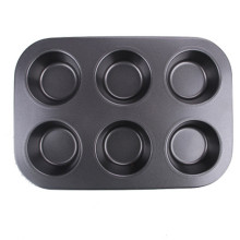 6 round cups Carbon steel muffin cupcake pan