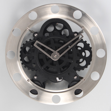 Classic Stainless Steel Gear Wall Clocks Black
