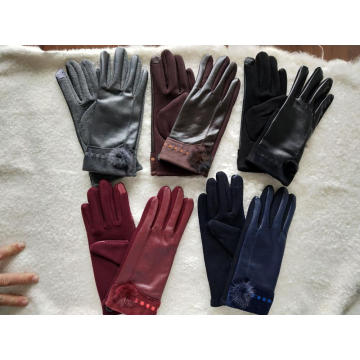 colorized handmade touch screen ladies gloves