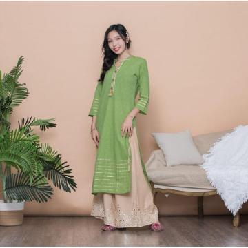 Woman Fashion Ethnic Styles Sets Kurtas Print Cotton India Dress Lady Long Green Top And Pants