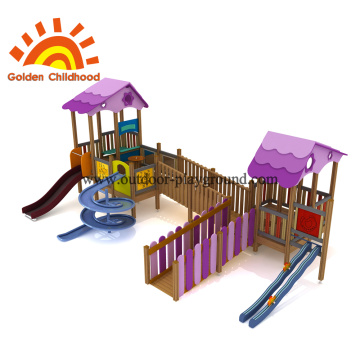 Outdoor Playground Playhouse Purple Slide For Sale