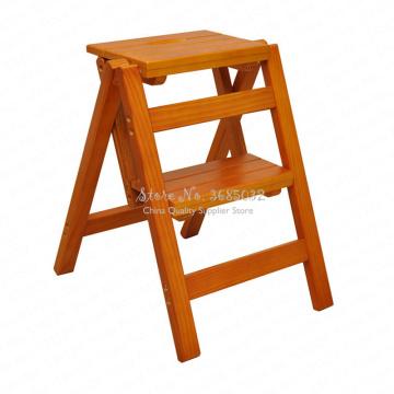 D,Multifunction folding solid stool wood ladder ascending platform step stool dual purpose rack stair chair