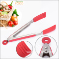 Rubber grip handle silicone serving salad kitchen tongs