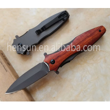 Wood Handle Assisted Fast Opening Folding Camping Knife