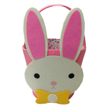 Pink cute rabbit Easter basket